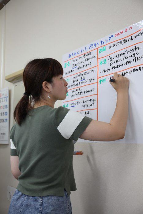 合宿、中間ともにワークショップ期間中の板書は瀬尾夏美氏が担当した